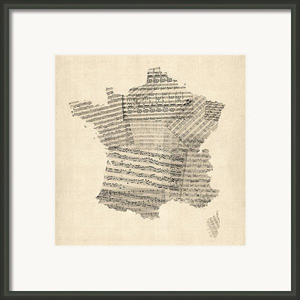 Map Of France Old Sheet Music Map Framed Print By Michael Tompsett
