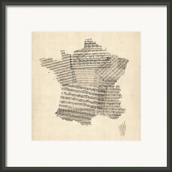 Map Of France Old Sheet Music Map Framed Print By Michael Tompsett