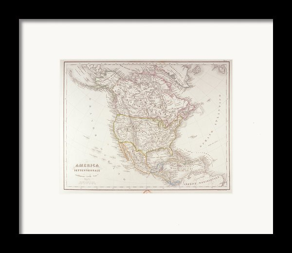 Map Of North America Framed Print By Fototeca Storica Nazionale