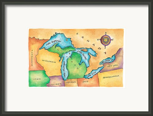 Map Of The Great Lakes Framed Print By Jennifer Thermes