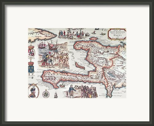 Map Of The Island Of Haiti Framed Print By French School