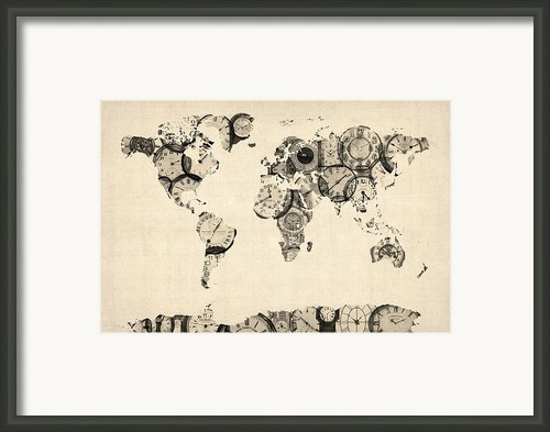 Map Of The World Map From Old Clocks Framed Print By Michael Tompsett