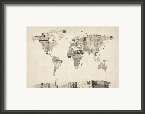 Map Of The World Map From Old Postcards Framed Print By Michael Tompsett
