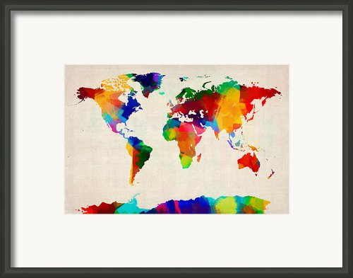 Map Of The World Map Framed Print By Michael Tompsett