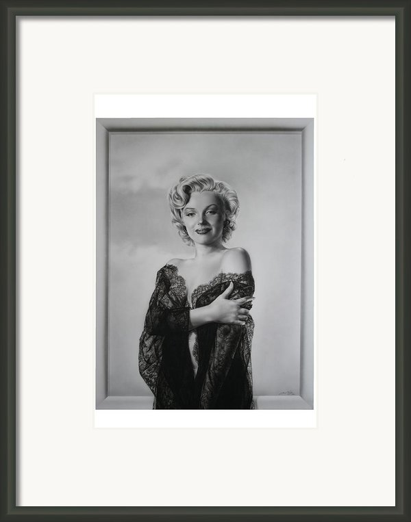 Marilyn In Lace Framed Print By Terry Stephens
