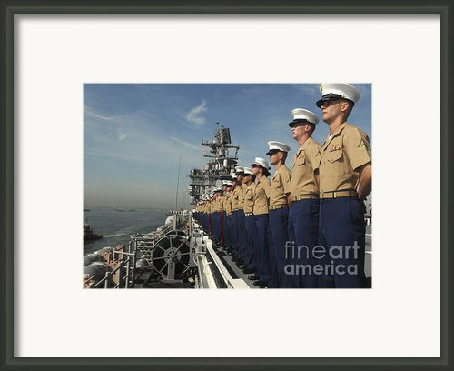 Marines Man The Rails Aboard Framed Print By Stocktrek Images