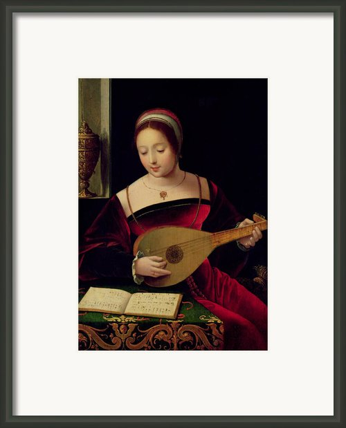Mary Magdalene Playing The Lute Framed Print By Master Of The Female Half Lengths