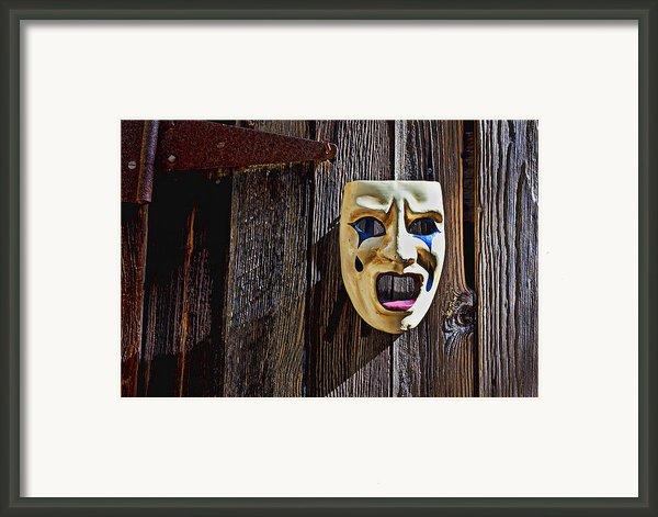 Mask On Barn Door Framed Print By Garry Gay