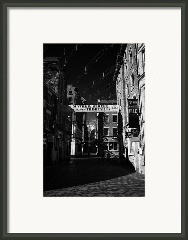 Mathew Street In Liverpool City Centre Birthplace Of The Beatles Merseyside England Uk Framed Print By Joe Fox