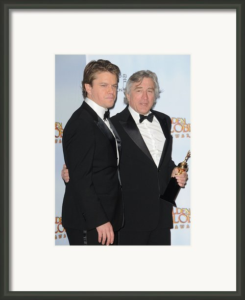 Matt Damon And Robert De Niro Framed Print By Everett