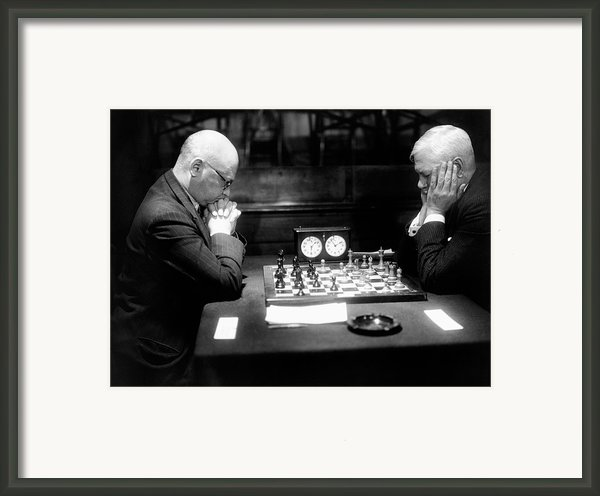 Mature Men Playing Chess, Profile (b&w) Framed Print By Hulton Archive