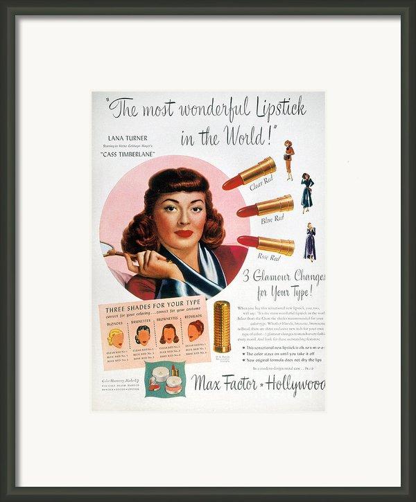Max Factor Lipstick Ad Framed Print By Granger