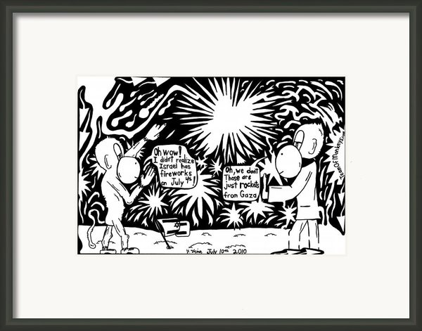 Maze Cartoon Of Israel On The Forth Of July Framed Print By Yonatan Frimer Maze Artist