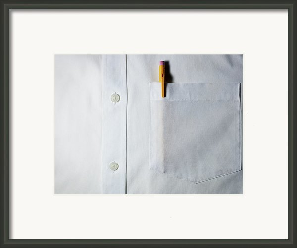 Mechanical Pencil In White Shirt Pocket. Framed Print By Ballyscanlon