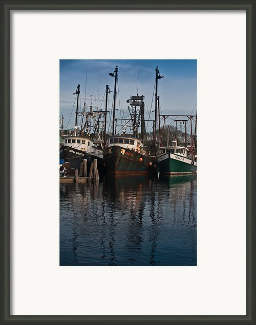 Menemsha Village Fishing Boats Framed Print By Peggie Strachan