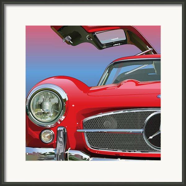Mercedes 300 Sl Gullwing Detail Framed Print By Alain Jamar