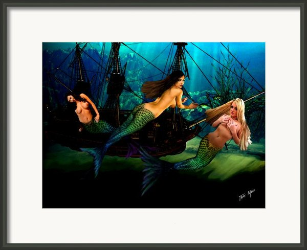 Mermaid Shipwreck  Framed Print By Tray Mead