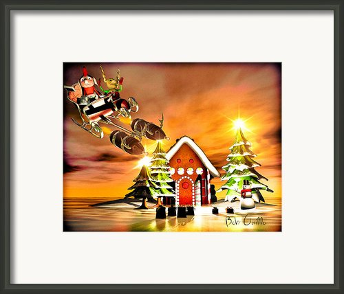 Merry Christmas  Boxing Day Rocket Sliegh Ride Framed Print By Bob Orsillo
