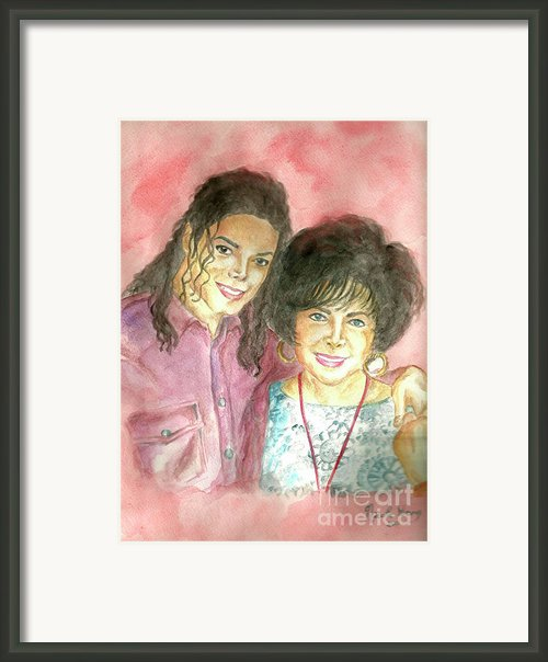 Michael Jackson And Elizabeth Taylor Framed Print By Nicole Wang