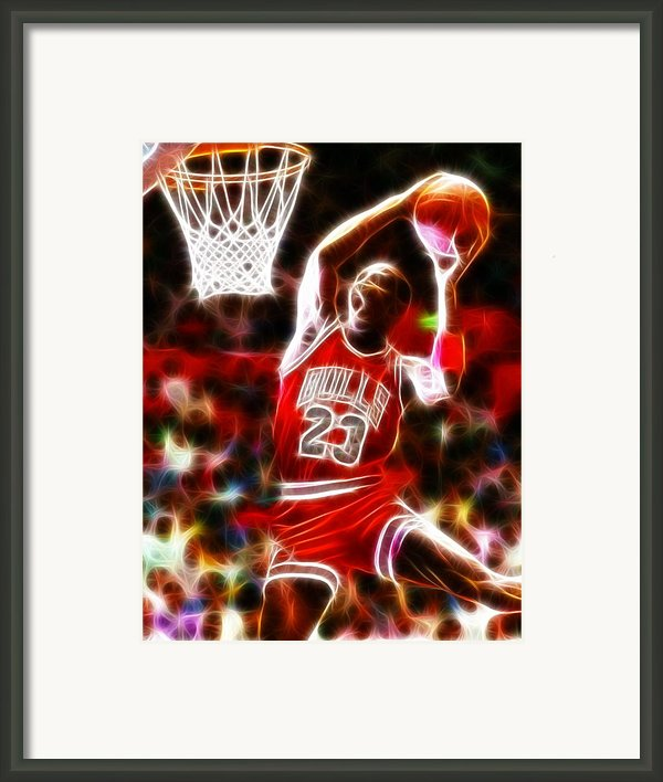 Michael Jordan Magical Dunk Framed Print By Paul Van Scott