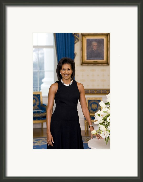 Michelle Obama 1964-, In Her Official Framed Print By Everett