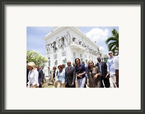 Michelle Obama And Jill Biden Tour Framed Print By Everett
