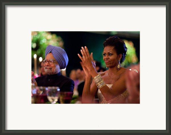 Michelle Obama Applauds Framed Print By Everett