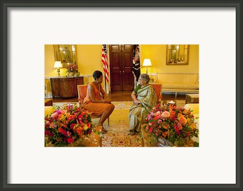 Michelle Obama Meets With Mrs Framed Print By Everett