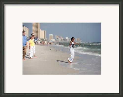 Michelle Obama Walks Barefoot Framed Print By Everett