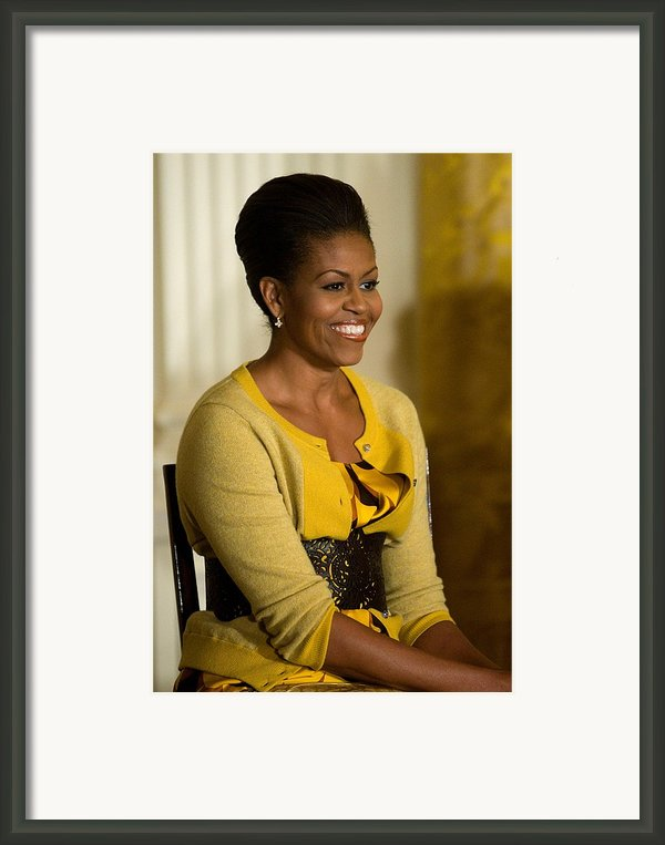 Michelle Obama Wearing A J. Crew Framed Print By Everett