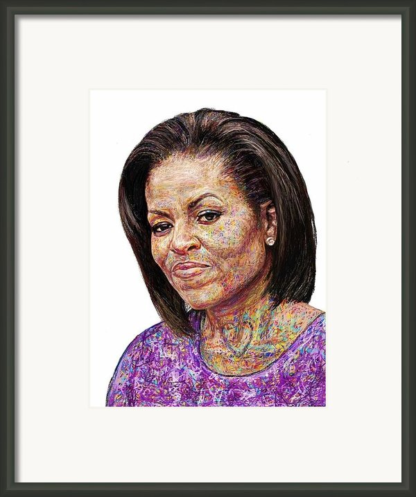 Michelle Obama With An Ipad Framed Print By Edward Ofosu