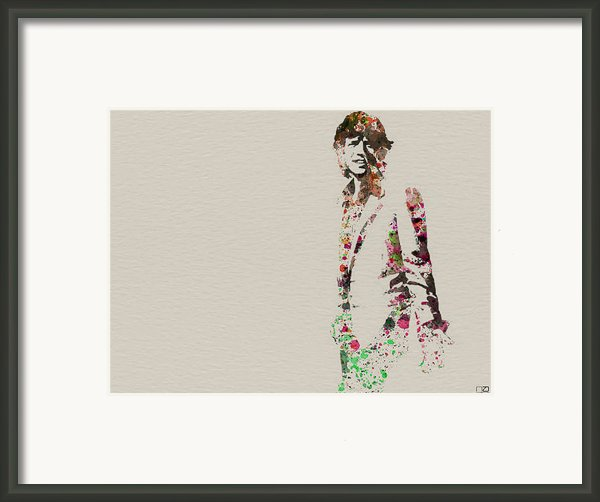 Mick Jagger Watercolor Framed Print By Irina  March