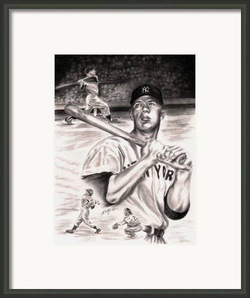 Mickey Mantle Framed Print By Kathleen Kelly Thompson