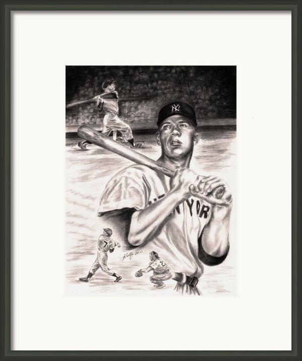 Mickey Mantle Framed Print By Kathleen Kelly Thompson