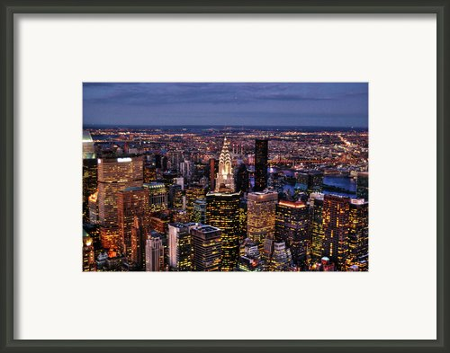 Midtown Skyline At Dusk Framed Print By Randy Aveille
