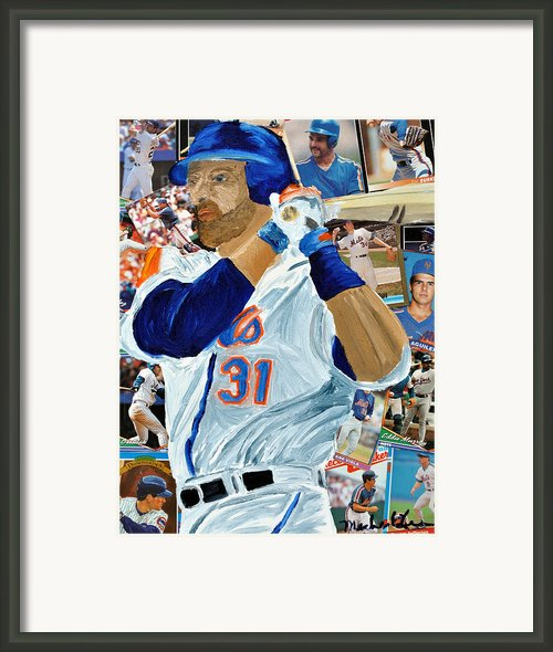 Mike Piazza Framed Print By Michael Lee