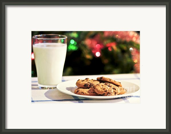 Milk And Cookies For Santa Framed Print By Elena Elisseeva