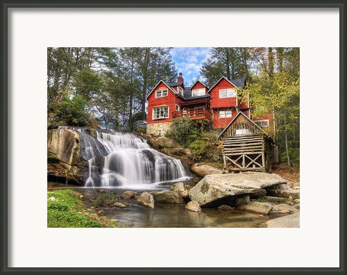Mill Shoals Falls - Wnc Blue Ridge Waterfalls Framed Print By Dave Allen