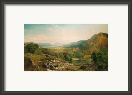 Minding The Flock Framed Print By Thomas Moran