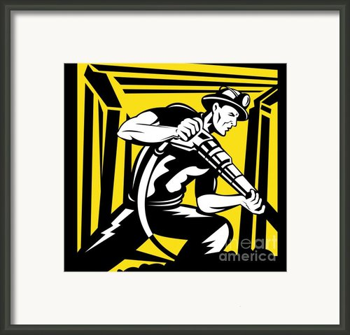 Miner With Pneumatic Drill  Framed Print By Aloysius Patrimonio