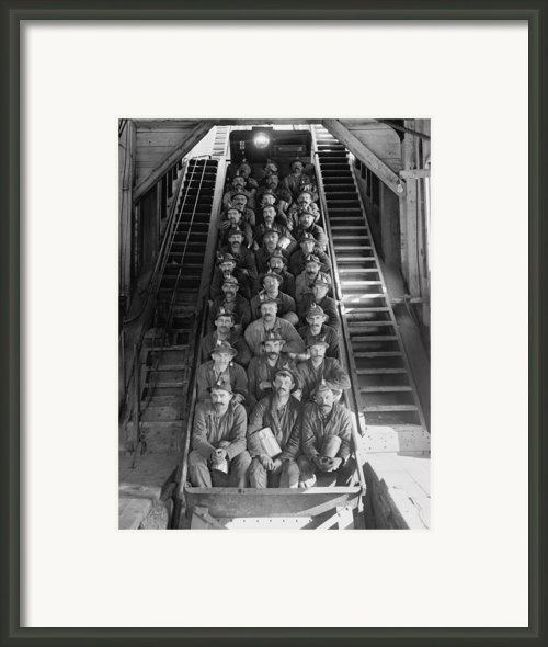 Miners In An Open Tram At The Calumet Framed Print By Everett
