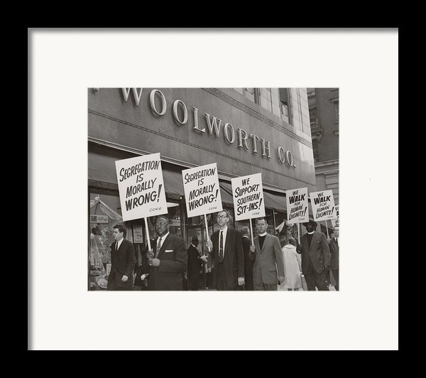 Ministers Picket F.w. Woolworth Store Framed Print By Everett
