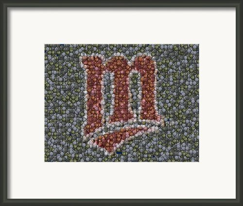 Minnesota Twins Baseball Mosaic Framed Print By Paul Van Scott