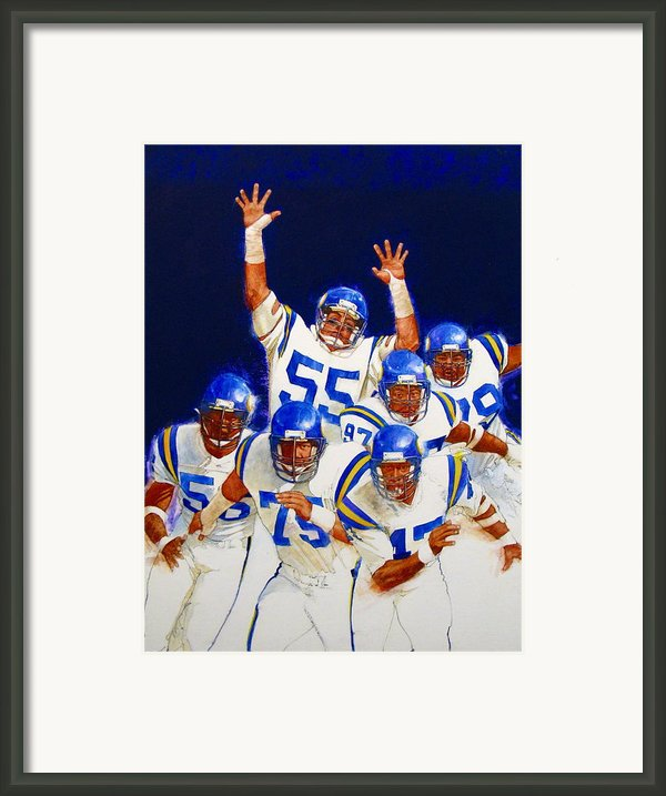 Minnesota Vikings Front Four  Framed Print By Cliff Spohn