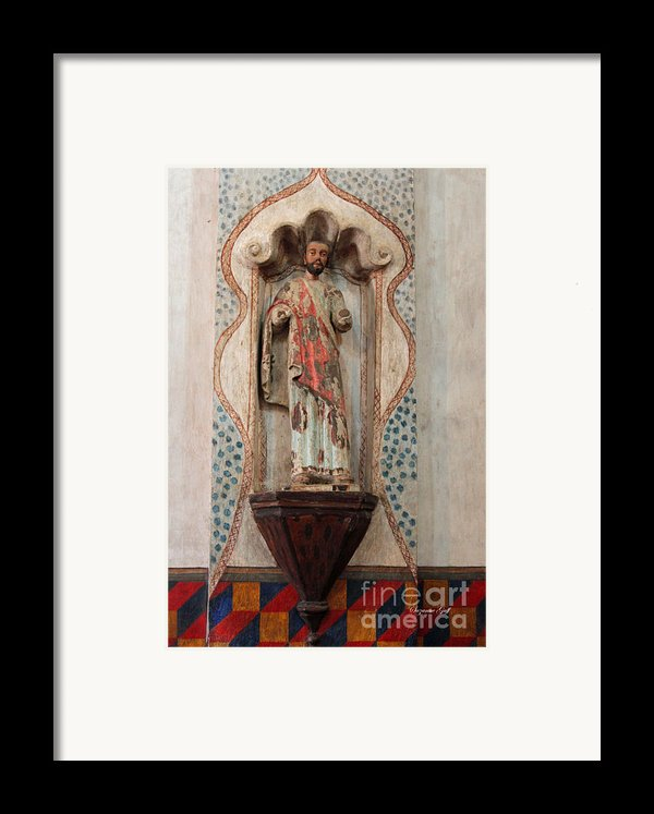 Mission San Xavier Del Bac - Interior Sculpture Framed Print By Suzanne Gaff