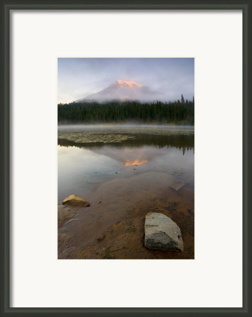 Misty Alpenglow Framed Print By Mike  Dawson
