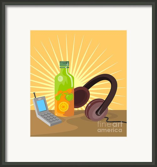 Mobile Phone Soda Drink Headphone Retro Framed Print By Aloysius Patrimonio