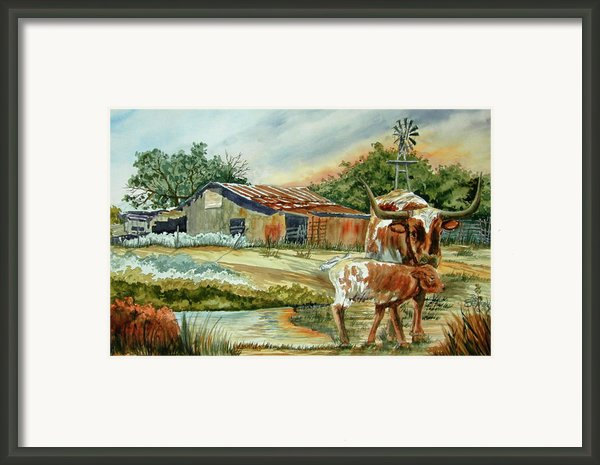 Momma Longhorn And Calf Framed Print By Ron Stephens