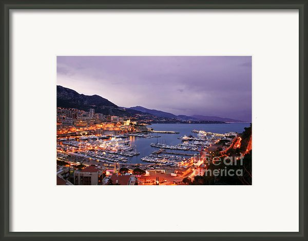 Monaco Harbor At Night Framed Print By Matt Tilghman
