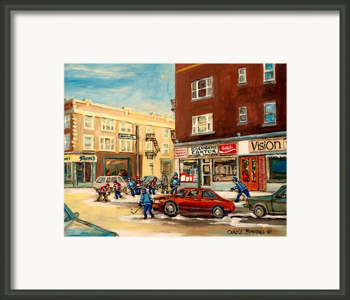 Monkland Street Hockey Game Montreal Urban Scene Framed Print By Carole Spandau